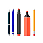 Ручки, маркеры, линейки