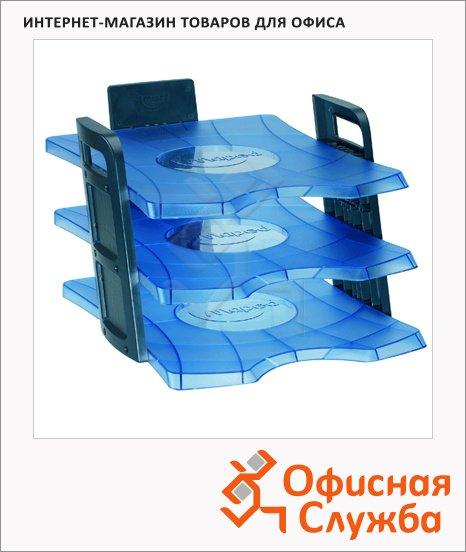 фото: Лоток горизонтальный для бумаг Maped Clear Office А4 3 секции, голубой, 755010