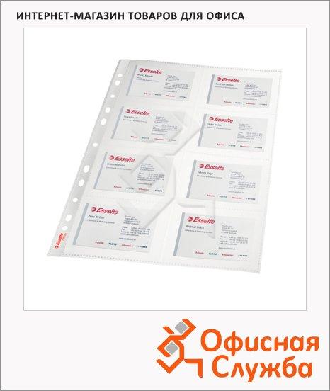 Блок карманов для визитниц Esselte Premium на 16 визиток, А4, прозрачный, 10 шт/уп, 78930