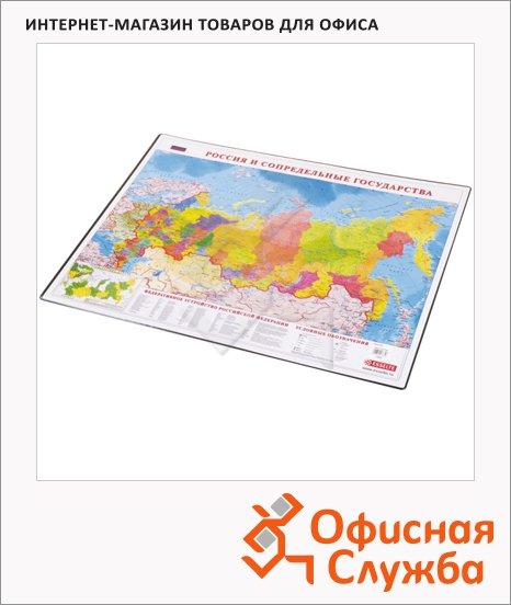 Коврик настольный для письма Esselte 66х51см, карта России, 13632