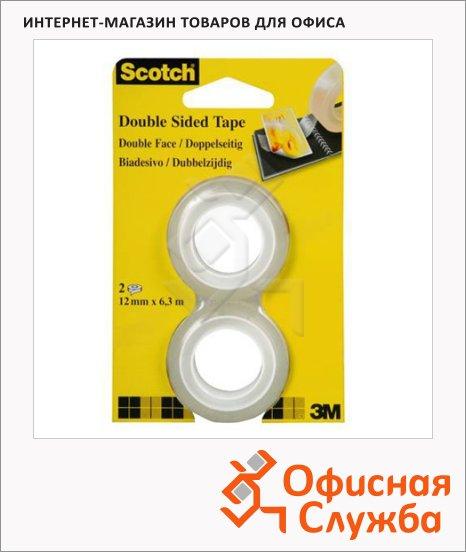фото: Клейкая лента канцелярская Scotch 12мм х 6.3м прозрачная, двусторонняя, 2шт/уп