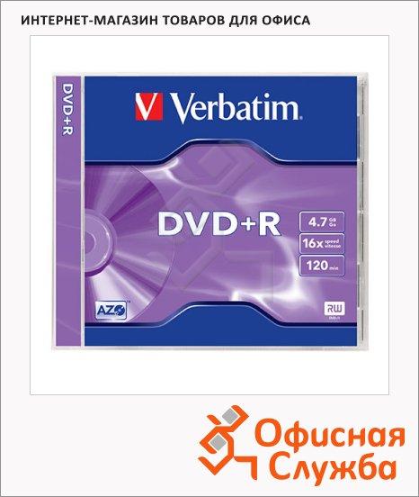 Диск DVD+R Verbatim 4.7Gb, 16x, Jewel Box, 1шт/уп