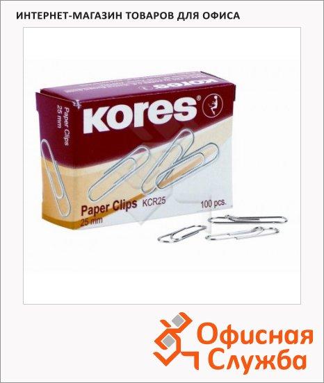 Скрепки канцелярские Kores, круглые, никелированные, 100шт/уп
