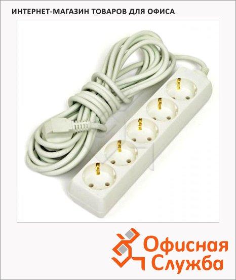 Удлинитель электрический Старт 5 розеток, 5м, белый, с заземлением