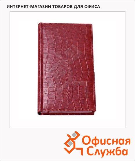 Телефонная книга Attache Croco А6, бордовая, 56 листов, кожзам