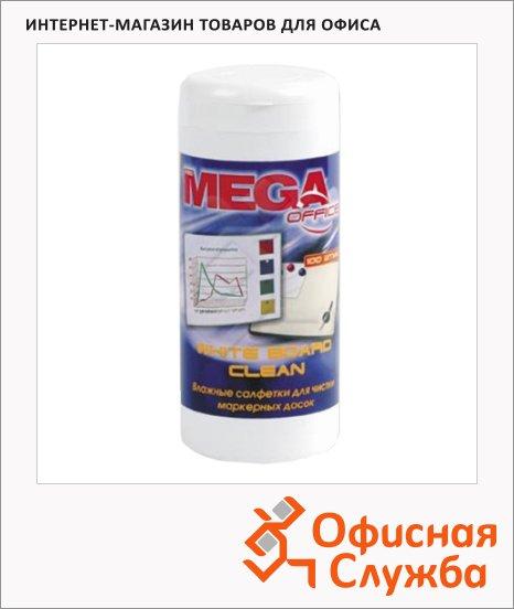 Салфетки влажные для маркерной доски Mega White Board Clean 100шт