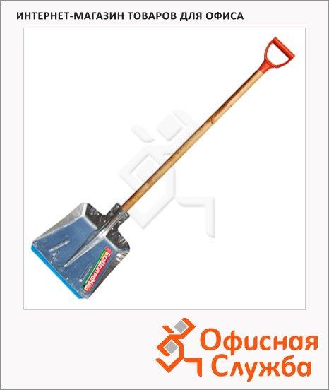фото: Лопата для снега Рыдлевка алюминиевая 38х38см, с черенком, 100см