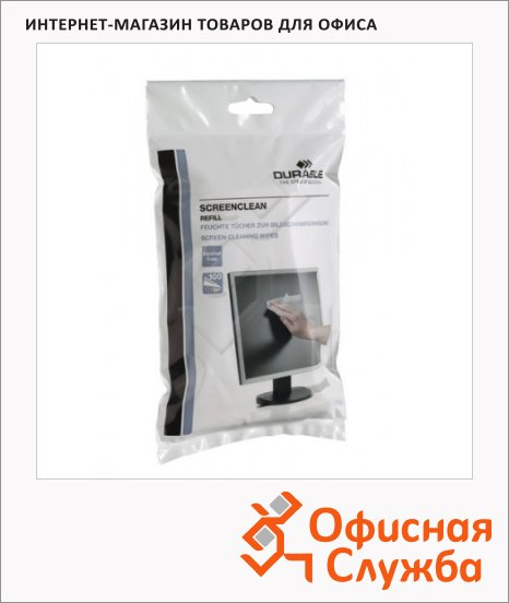 Запасной блок салфеток для мониторов Durable Screenclean 100шт/уп, 5737-02