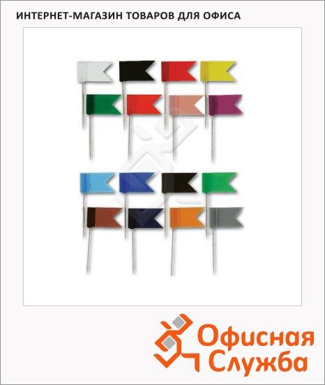 Кнопки для пробковых досок Alco цветные, 20 шт/уп, флажки