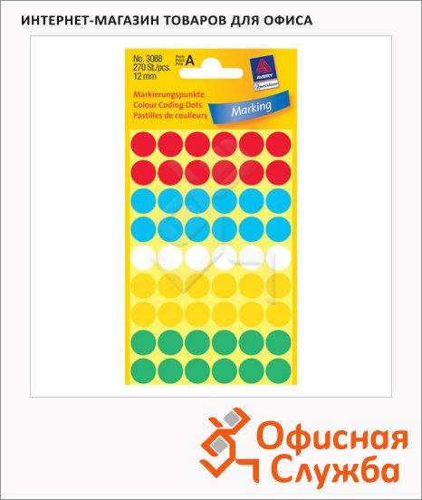 Этикетки маркеры Avery Zweckform 3088, разноцветные, 54шт на листе А4, 5 листов, 270шт