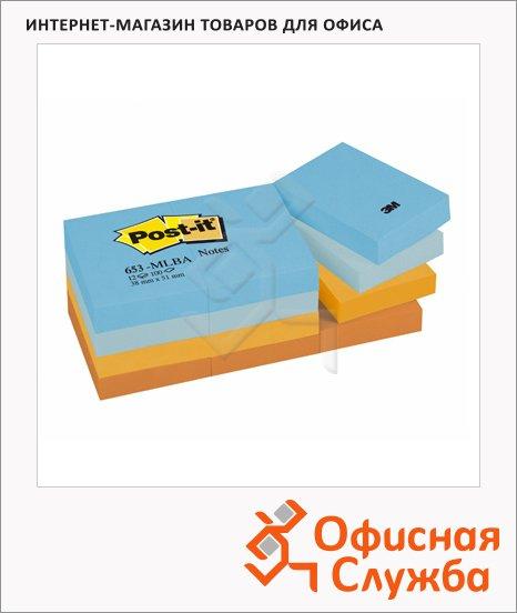 Блок для записей с клейким краем Post-It Classic 4 цвета, неон, 38x51мм, 12х100 листов