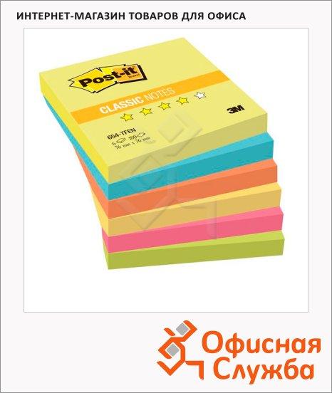 Блок для записей с клейким краем Post-It Classic 6 цветов, 76x76мм, 6х100 листов