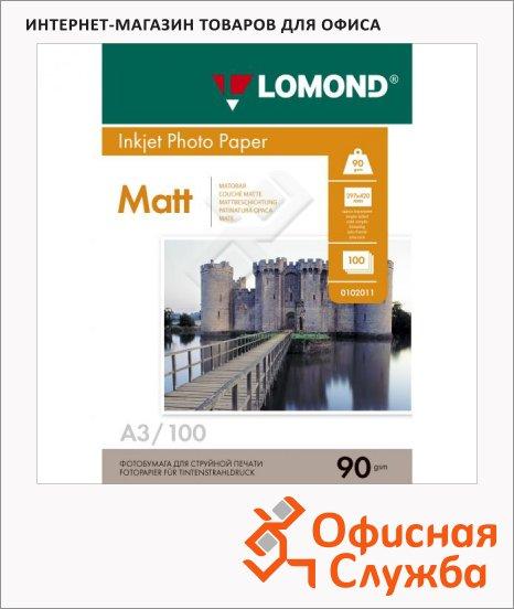 Бумага Lomond для струйной печати, А3, матовая, 90 г/м2, 100 листов