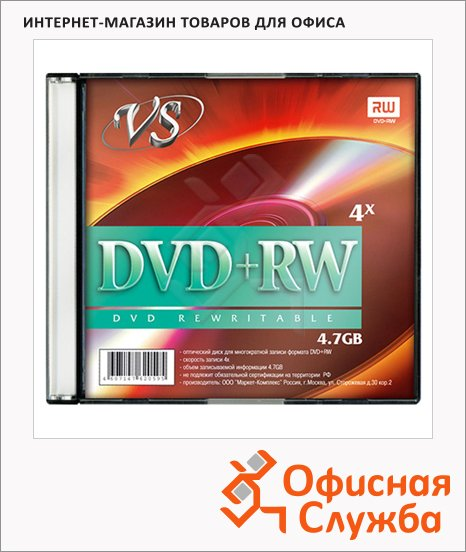 Диск DVD+RW Vs 4.7Gb, 4x, Slim Case, 5шт/уп