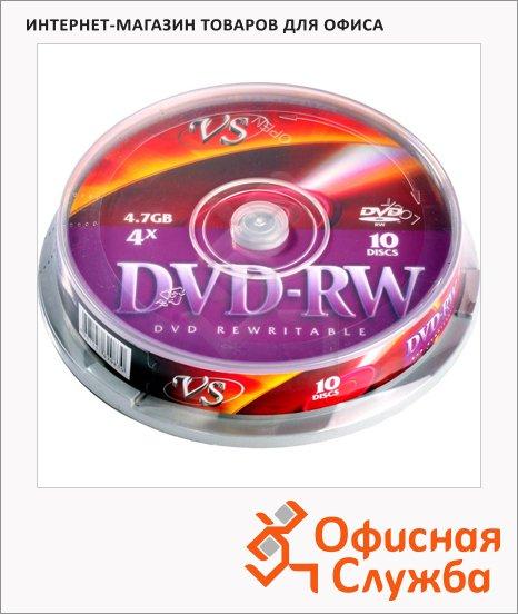Диск DVD-RW Vs 4.7Gb, 4x, Cake Box, 10шт/уп
