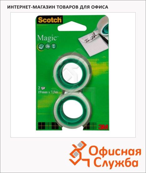 Клейкая лента канцелярская Scotch Magic 19мм х7.5м, невидимая, матовая, 2шт/уп
