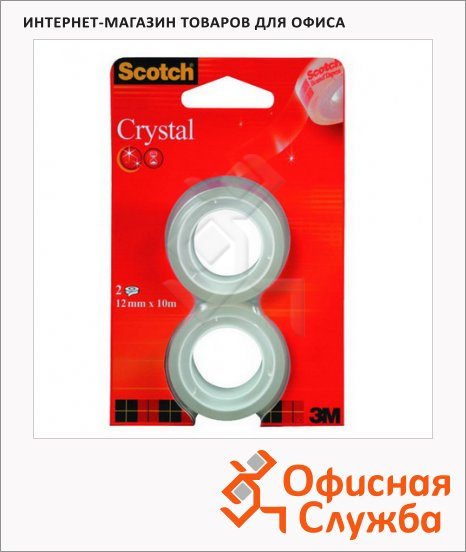 Клейкая лента канцелярская Scotch Crystal 19мм х 7.5м, прозрачная, 2шт/уп
