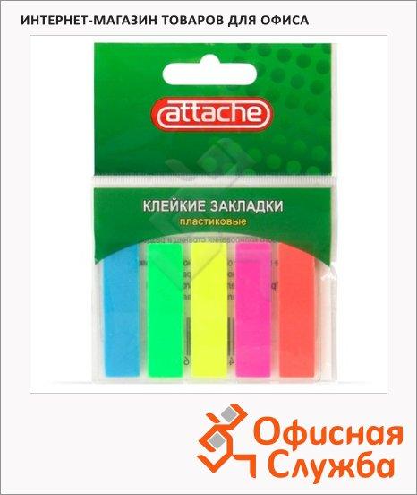 Клейкие закладки пластиковые Attache 5 цветов, 45х12мм, 100шт