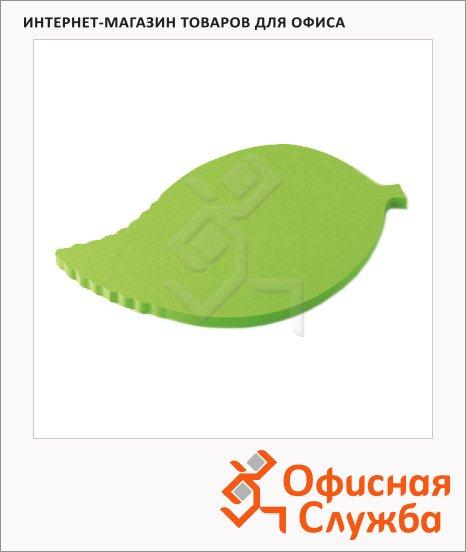 Блок для записей фигурный ЗМ Post-It Листочек, зеленый 150л, с клейким краем