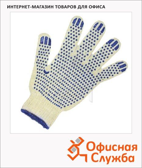 Перчатки трикотажные Точка синий, с ПВХ, 10 пар