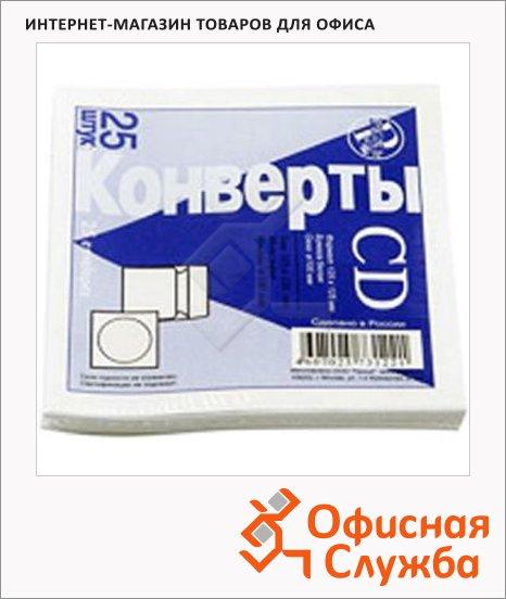 фото: Конверт для CD Packpost белый 125х125мм, 90г/м2, 25шт, декстрин, с окном