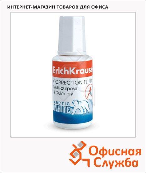 фото: Корректирующая жидкость Erich Krause Arctic White 20мл с кисточкой, быстросохнущая