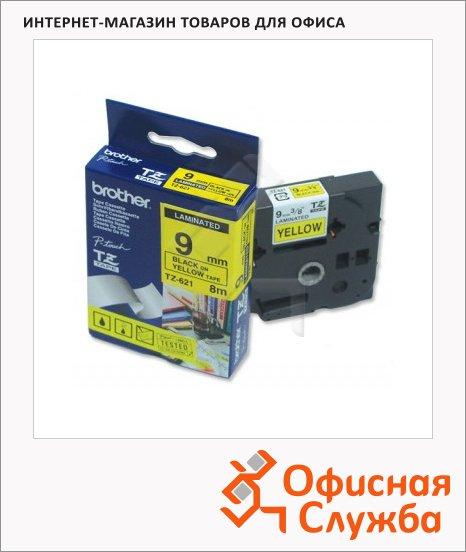 Картридж для принтера этикеток Brother TZ-621, 9мм х 8м, желтый с черными буквами, пластик
