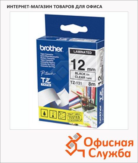 фото: Картридж для принтера этикеток Brother TZ-131 12мм х 8м, прозрачный с черными буквами, пластик