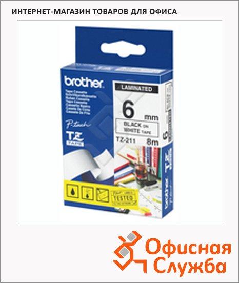 фото: Картридж для принтера этикеток Brother TZ-211 6мм х 8м, белый с черными буквами, пластик