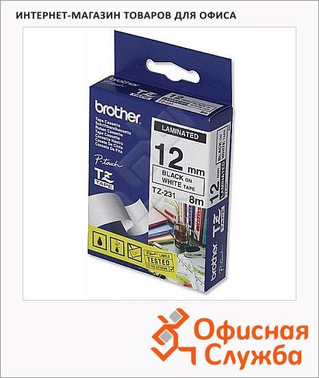 Картридж для принтера этикеток Brother TZ-231, 12мм х 8м, белый с черными буквами, пластик