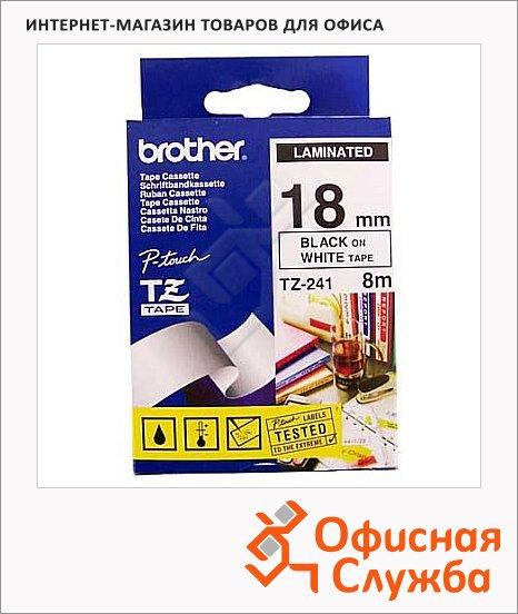фото: Картридж для принтера этикеток Brother TZ-241 18мм х 8м, белый с черными буквами, пластик