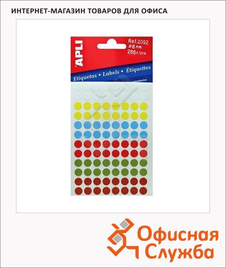 Этикетки круглые Apli 2092, d=8мм, 288шт, ассорти