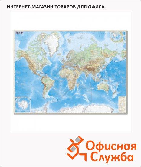Карта настенная Dmb Мир обзорная физическая с границами, М-1:15 000 000, 192х140см