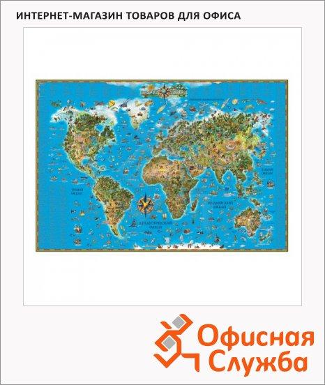 фото: Карта настенная Dmb Мир 116х79см для детей, ламинированная