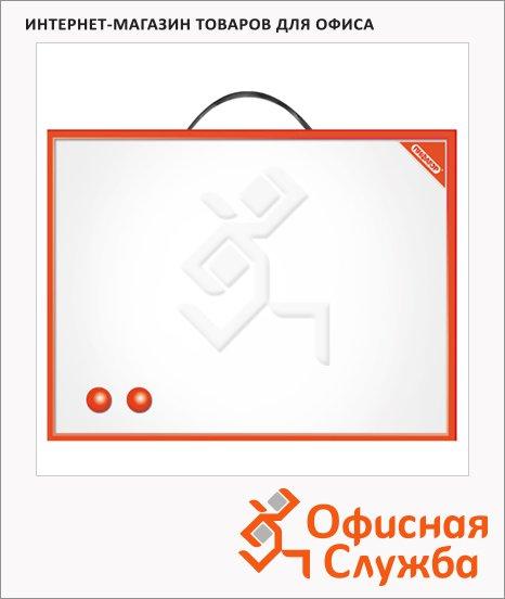 Доска магнитная маркерная Пифагор 231719 30х45см, белая, лаковая, красная рама