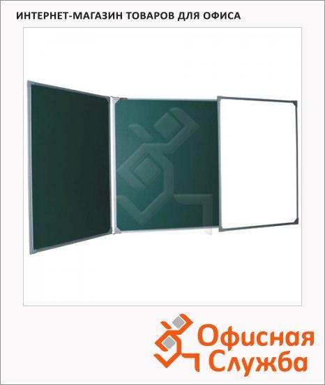 Доска меловая Boardsys ТЭ-300К 300х100см, белая/ зеленая, полимерная, маркерная, алюминиевая рама, двустворчатая