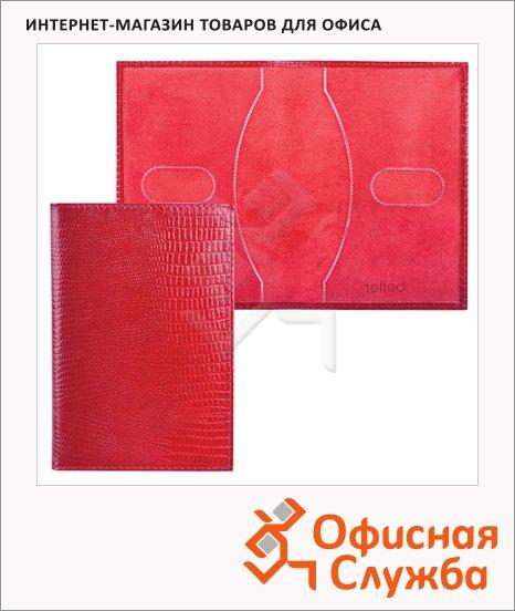 фото: Обложка для паспорта Befler Ящерица красная натуральная кожа