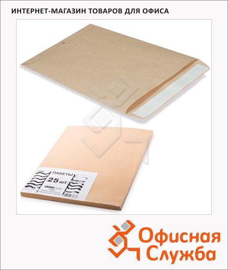 фото: Пакет почтовый бумажный плоский Курт B4 крафт 250х353мм, 90г/м2, 25шт, стрип