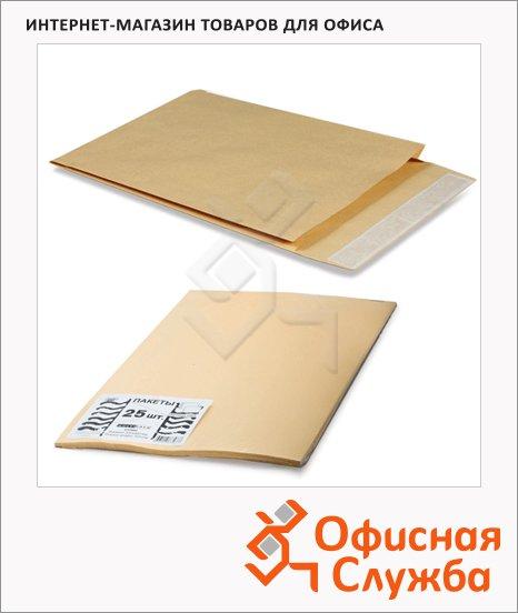 фото: Пакет почтовый бумажный плоский Курт E4 крафт 300х400мм, 120г/м2, 25шт, стрип