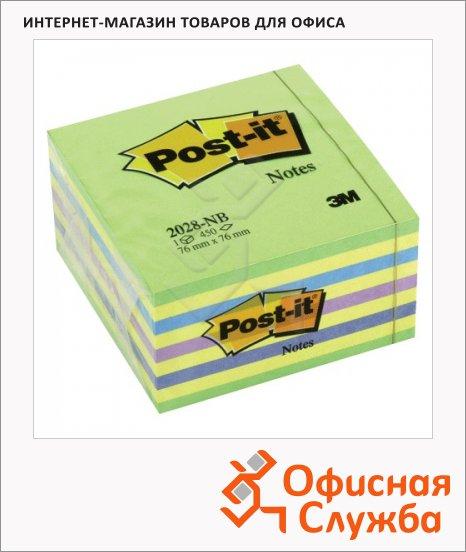 Блок для записей с клейким краем Post-It Classic разноцветный, неон, 76х76мм, 450 листов