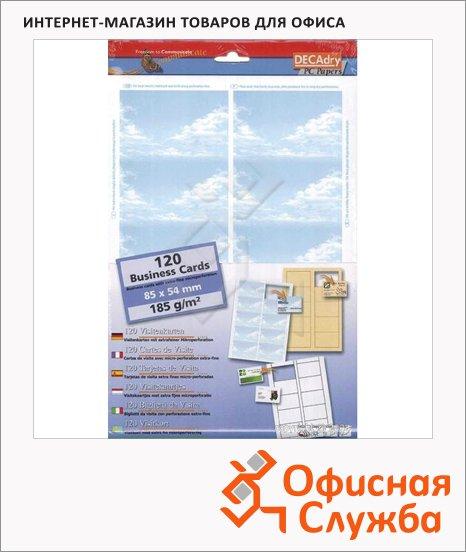 Визитные карточки Decadry с микроперфорацией, 85х54мм, 185г/м2, 12л х10шт, небо