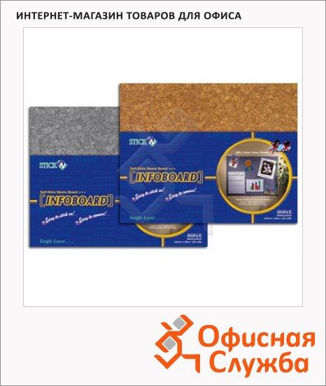 Доска информационная Hopax Infoboard 58х46см, пробковая, без рамы, клейкая
