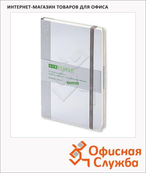 Тетрадь общая Brunnen Компаньон, А5, 96 листов, нелинованная, на сшивке, алюминий, 55220-02