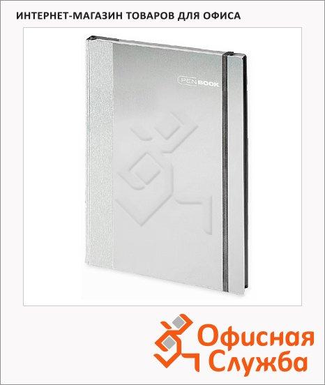 Тетрадь общая Brunnen Pen-Book серая, А4, 60 листов, в клетку, на сшивке, алюминий