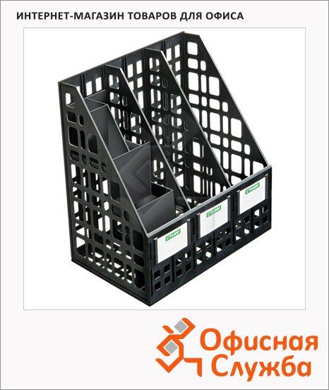 фото: Накопитель вертикальный для бумаг Стамм А4 3 секции, 240мм, черный, ЛТ88