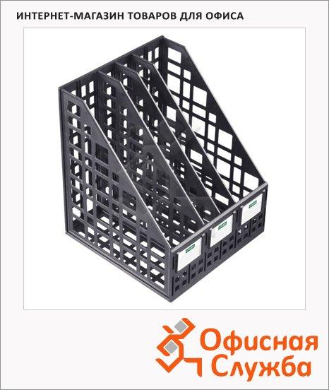 Накопитель вертикальный для бумаг Стамм А4, 4 секции, 240мм, черный, ЛТ83