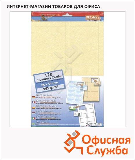 Визитные карточки Decadry пергамент шампань, 85х54мм, 165г/м2, 12л х10шт