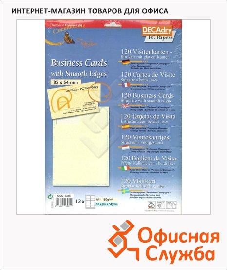 Визитные карточки Decadry пергамент, 85х54мм, 185г/м2, 12л х10шт, прямоугольные края