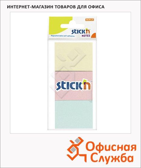Блок для записей с клейким краем Stick'n 3 цвета, пастельный, 38x51мм, 3х100 листов