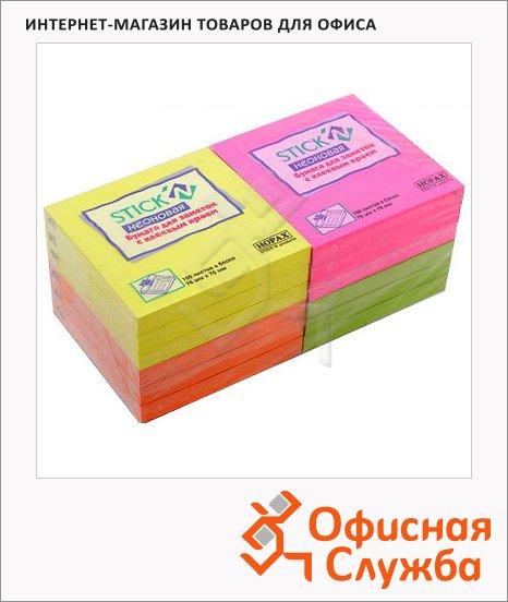 фото: Блок для записей с клейким краем 4 цвета неон, 76х76 мм, 12х100 листов